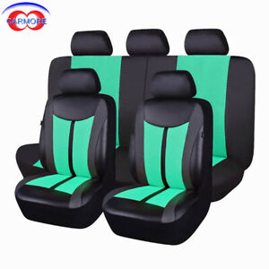 11pcs Car Seat Covers Faux Leather Polyester Mesh Breathable Odorless Mint Green