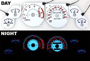Fits 1996 1998 Jeep Grand Cherokee El Night Glow Gauges White Face Reverse
