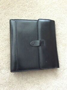 Classic 1 25 Black Leather Unstructured Franklin Covey Flap Open Planner Binder