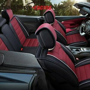 Universal Leather 5 seat Car Seat Cover Front Rear Set Waterproof W Pillow Red