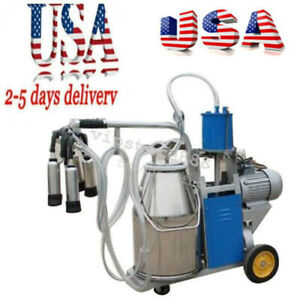 Electric Milking Machine Milker For Farm Cows Bucket 25l 304 Stainless Us Ship