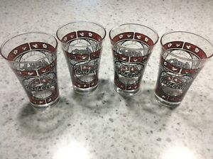 Vintage Coca-Cola 4 *Flared* Drinking Glasses - Stained Glass Style