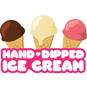 Hand Dipped Ice Cream Concession Decal Sign Cart Trailer Stand Sticker