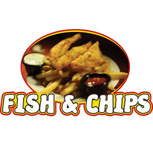 Fish Chips Concession Decal Sign Cart Trailer Stand Sticker Equipment