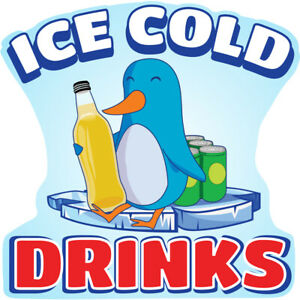 Ice Cold Drinks 2 Concession Decal Sign Cart Trailer Stand Sticker Equipment