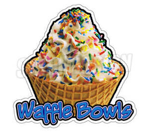 Waffle Bowls Concession Decal Soft Serve Ice Cream Cart Trailer Sticker