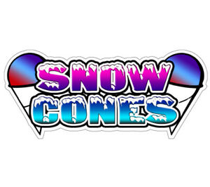 Snow Cones I Concession Decal Sno Kone Cone Sign Cart Trailer Stand Sticker