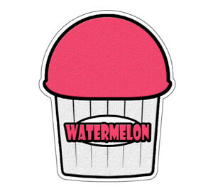Watermelon Flavor Italian Ice Decal Shaved Ice Cart Trailer Stand Sticker