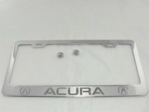 1x Acura With 2 Logo Halo Stainless Steel License Plate Frame Screw Caps