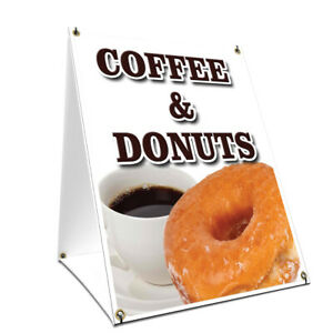 A frame Sidewalk Sign Coffee Donuts With Graphics On Each Side