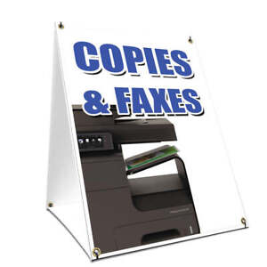 A frame Sidewalk Sign Copies Faxes With Graphics On Each Side