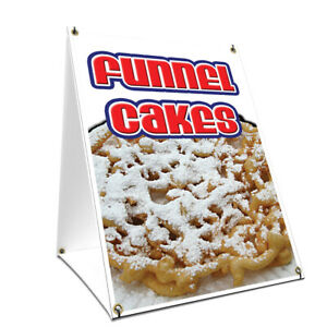 A frame Sidewalk Sign Funnel Cakes With Graphics On Each Side
