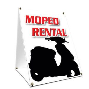 A frame Sidewalk Sign Moped Rental With Graphics On Each Side