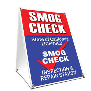A frame Sidewalk Sign Smog Check With Graphics On Each Side