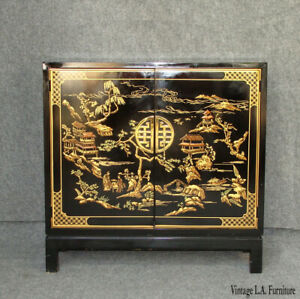 Vintage Asian Oriental Drexel Heritage Black Chinoiserie Cabinet Entry Table