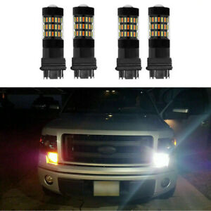 4pc White Amber Switchback Led Turn Signal Light Bulbs For Chevy Silverado 99 14
