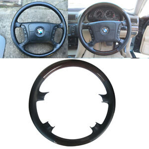 Black Leather Wood Steering Wheel Cover 96 03 Bmw E38 E39 7 730 740 525 E46 E53