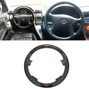 Gray Leather Wood Steering Wheel Cover Decor For 00 07 Mercedes W203 C C240 C320