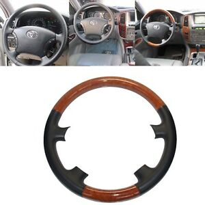 Leather Wood Steering Wheel Cover Trim For 04 09 Sienna Tacoma Highlander Camry