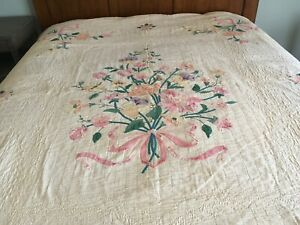 Quilted Appliqued Twin Bed Coverlets Pair Beautiful Pastel Florals