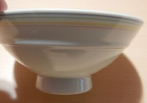 Chinese Multi Colored Rim Porcelain Bowl Blue Markings On Bottom