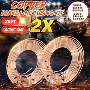 Pair 25ft Roll Coil 3 16 Od Copper Nickel Brake Line Tubing With 16 Fittings
