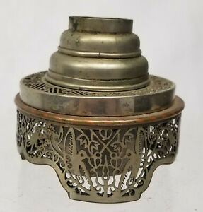 Antique Chinese Fine Paktong Pewter Opium Lamp Signed Openwork Burner