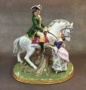 15 Tall Dresden Sitzendorf Germany Courting From A Dapple Grey Horse Figurine