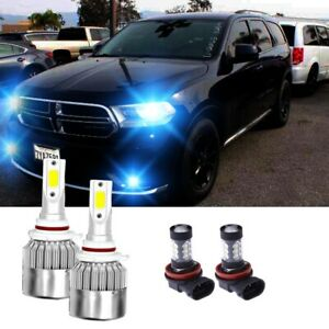 8000k H11 Fog Light 9012 Hir2 Led Headlight Bulb For Dodge Durango 2014 2015 4pc