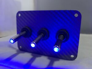 3 Hole Grey Wrapped Carbon Fiber Look Plate W 3 Led Toggle Switches Blue