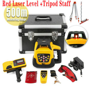 Ridgeyard Self leveling 360 Rotary Rotating Red Laser Level Tool Kit 500m Range