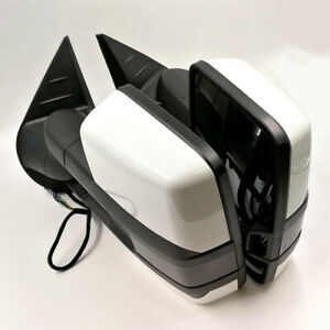 For 14 18 Silverado Painted White Side Tow Mirror Power Heated Smoked Led Signal