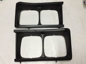 Fiat 125 Head Light Bezel Set X2 Left Right Plastic Black