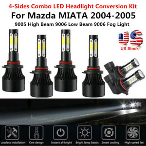 6pc For 2004 2005 Mazda Miataled Headlight 4 Sides High Low Beam Fog Light White