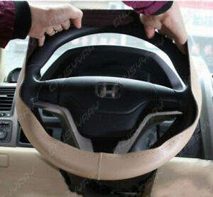 Diy Beige Leather Steering Wheel Cover With Needles nylon Line For Honda Accord