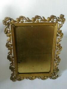Vintage Antique Gold Gilt Metal Table Wall Picture Frame Easel Back Embossed