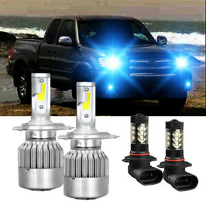 For Toyota Tundra 2000 2006 Led Bulbs Kit Headlight H4 Fog Light 9006 8000k 4pc