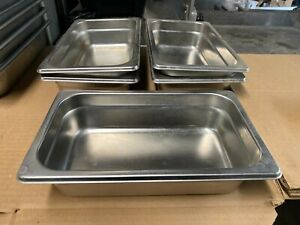 Set Of 5 Stainless Steel 10 5 X 6 5 X 2 5 Steam Table Insert Food Pans