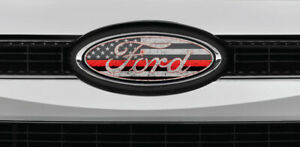 Ford Overlay Distressed Thin Red Line Logo Overlay Decals Grille Only