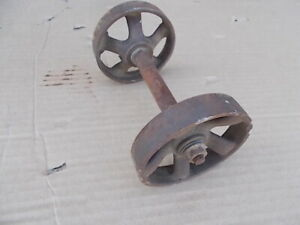 Vintage 3 1 2 Wheels And Axle Industrial Cast Iron Steampunk