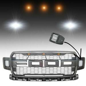 Front Bumper Grille Raptor Style W Side Led Running Light For 18 19 Ford F150