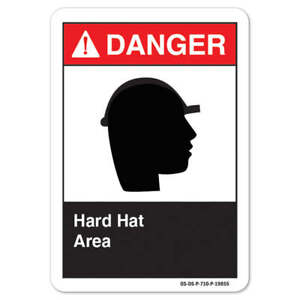 Ansi Danger Sign Hard Hat Area made In The Usa