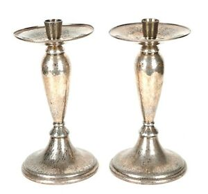 Liberty Co Large Pair Of Art Nouveau Tudric Plated Pewter Candlesticks 01223