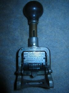 Antique Bates Numbering Machine Metal Date Stamp 6 Wheels Style A Ca 1893