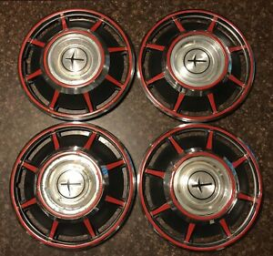 Vintage Chevy Corvair 1965 1969 13 Hub Caps Red Black