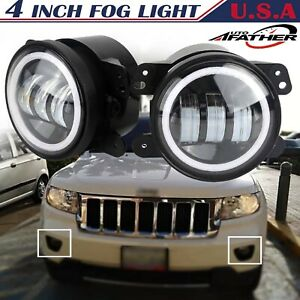 4 Inch Round Led Fog Light Drl Angel Eye Halo For 1997 2018 Jeep Grand Cherokee