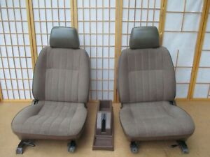 86 97 Nissan Pickup Truck Interior Front Tan Bucket Seat Set W Center Console