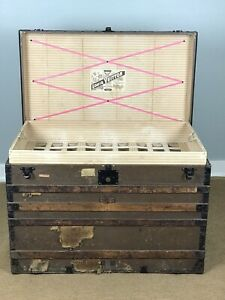 Louis Vuitton 19th Century Steamer Trunk With Trays Detroit Michigan Labeled