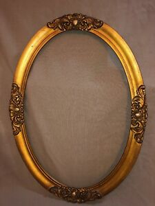 Antique Oval Wood Frame 1800 S Carved Gold 22x16 Ornate Beautiful