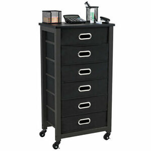Rolling File Cabinet Heavy Duty Mobile Storage Filing Cabinet 6 Drawers Black